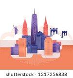 new york skyline. travel and... | Shutterstock .eps vector #1217256838