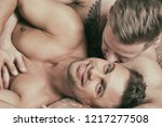 two attractive guys relaxing on ... | Shutterstock . vector #1217277508