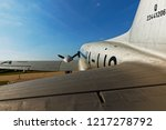 wintage airplane angle shot | Shutterstock . vector #1217278792