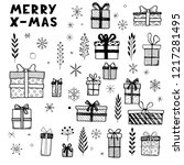 hand drawn set of christmas... | Shutterstock .eps vector #1217281495