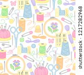 tools and objects for sewing ... | Shutterstock .eps vector #1217282968