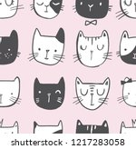 cat vector doodle pattern with... | Shutterstock .eps vector #1217283058