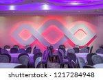 purple ornament led light wall... | Shutterstock . vector #1217284948