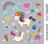 set is a unicorn and a cat... | Shutterstock .eps vector #1217286685