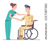 nurse and veteran soldier in... | Shutterstock .eps vector #1217287282