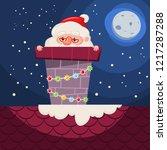 santa claus stuck in the... | Shutterstock .eps vector #1217287288