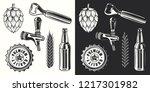 beer object set in vintage... | Shutterstock .eps vector #1217301982