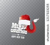 vector red santa hat label... | Shutterstock .eps vector #1217323255