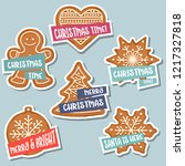 christmas stickers collection... | Shutterstock .eps vector #1217327818