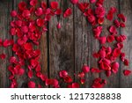 Stock photo red rose flower petal background 1217328838