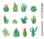 cartoon colorful cactus and... | Shutterstock .eps vector #1217329588