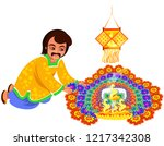 diwali indian holiday with... | Shutterstock .eps vector #1217342308