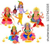 diwali indian holiday gods and... | Shutterstock .eps vector #1217342335