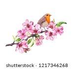bird in spring flowers....   Shutterstock . vector #1217346268
