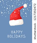 hand drawn christmas hat and... | Shutterstock .eps vector #1217352472