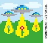 Pixel Vector Landscape With Ufo