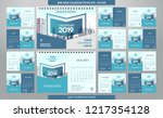 desk calendar 2019 template  ... | Shutterstock .eps vector #1217354128