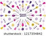 flower power hand lettering... | Shutterstock .eps vector #1217354842