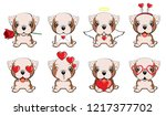 english bulldog. a set of dogs... | Shutterstock .eps vector #1217377702