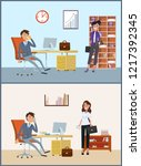 business appointment of client...   Shutterstock .eps vector #1217392345