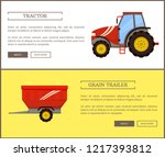 tractor and grain trailer... | Shutterstock .eps vector #1217393812