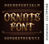 ornate golden alphabet font.... | Shutterstock .eps vector #1217395468
