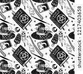 witchcraft seamless pattern... | Shutterstock . vector #1217403658