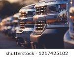 Trucks Dealer Vehicles Stock Row. Selective Focus. Automotive Dealership.  - stock photo