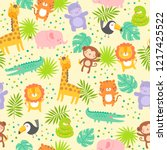 cute jungle animals with... | Shutterstock .eps vector #1217425522