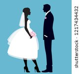 the bride and groom in full... | Shutterstock .eps vector #1217434432