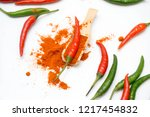 close up chili peppers isolated ... | Shutterstock . vector #1217454832