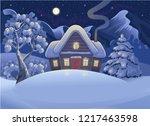 winter night forest landscape...   Shutterstock .eps vector #1217463598