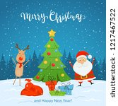 santa claus and cute deer with... | Shutterstock .eps vector #1217467522