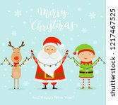 Santa With Little Elf And Cute...
