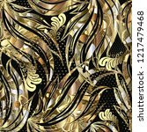 abstract gold floral 3d vector...   Shutterstock .eps vector #1217479468