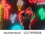 passionate nude couple kissing... | Shutterstock . vector #1217490838