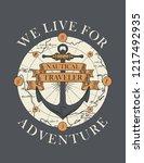 retro banner with ship anchor ... | Shutterstock .eps vector #1217492935