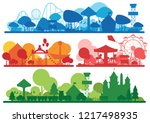 amusement park colorful... | Shutterstock .eps vector #1217498935