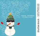 snowmand and christmas tree | Shutterstock .eps vector #121752112