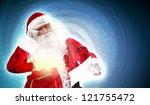santa holding christmas letters ... | Shutterstock . vector #121755472