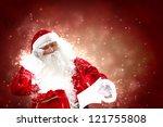 santa holding christmas letters ... | Shutterstock . vector #121755808