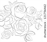 roses. seamless  black and... | Shutterstock .eps vector #121756462