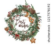 watercolor christmas wreath... | Shutterstock . vector #1217578192