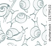 seamless pattern with snails | Shutterstock .eps vector #121759132