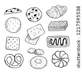 set of delicious biscuits with...   Shutterstock .eps vector #1217595538