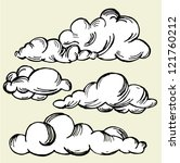 set of vector engraving clouds | Shutterstock .eps vector #121760212