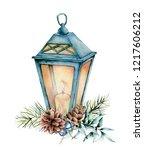 watercolor blue christmas... | Shutterstock . vector #1217606212
