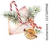 watercolor christmas envelope... | Shutterstock . vector #1217609968