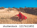 fashion girl in a red dress in... | Shutterstock . vector #1217611852