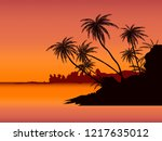 row of tropic palm trees... | Shutterstock .eps vector #1217635012